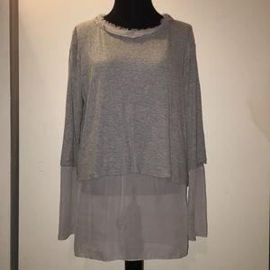 Tops - H by Baordeaux sheer trim gray long sleeve knit